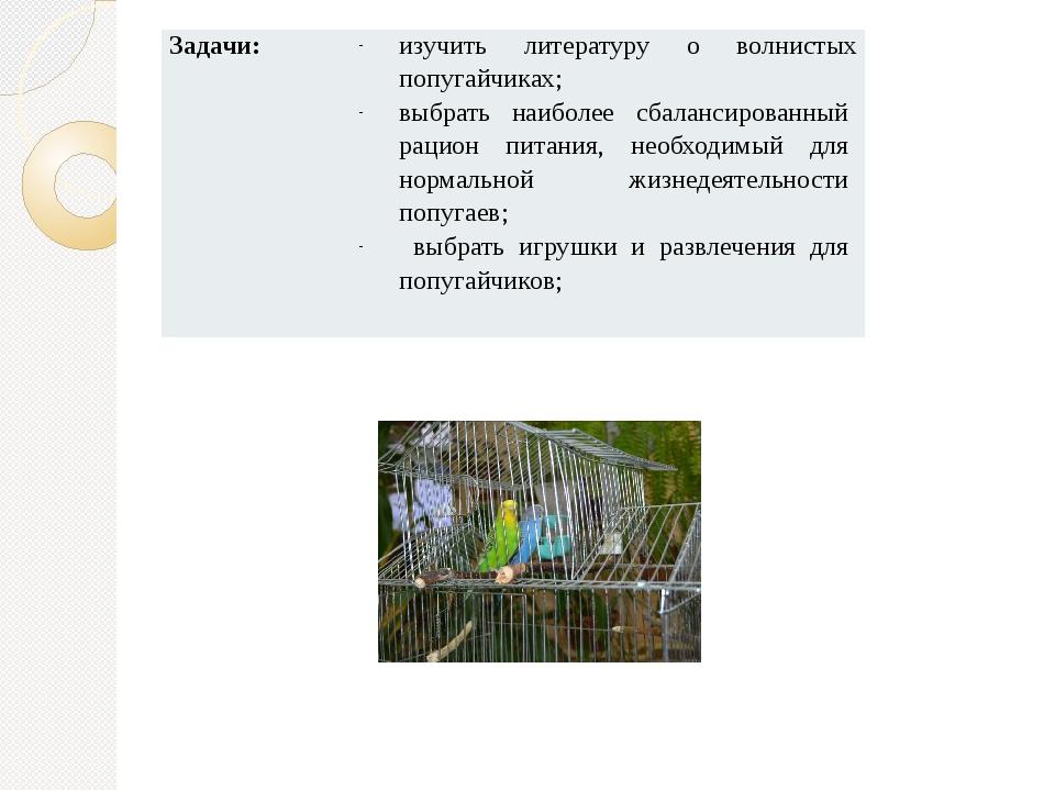Задачи: изучить литературу о волнистых попугайчиках; выбратьнаиболее сбаланси...