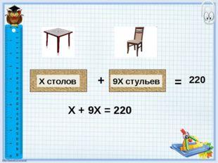 9Х стульев Х столов + = 220 Х + 9Х = 220