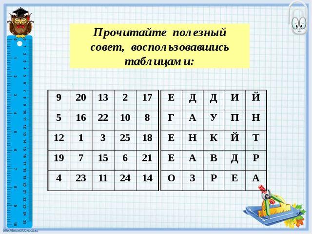 Прочитайте полезный совет, воспользовавшись таблицами: 9 20 13 2 17 5 16 22 1...