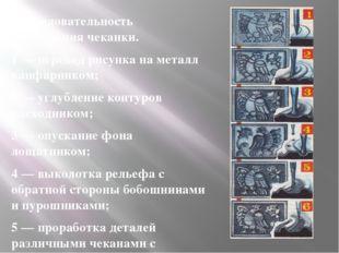 Последовательность выполнения чеканки. 1 — перевод рисунка на металл канфарни