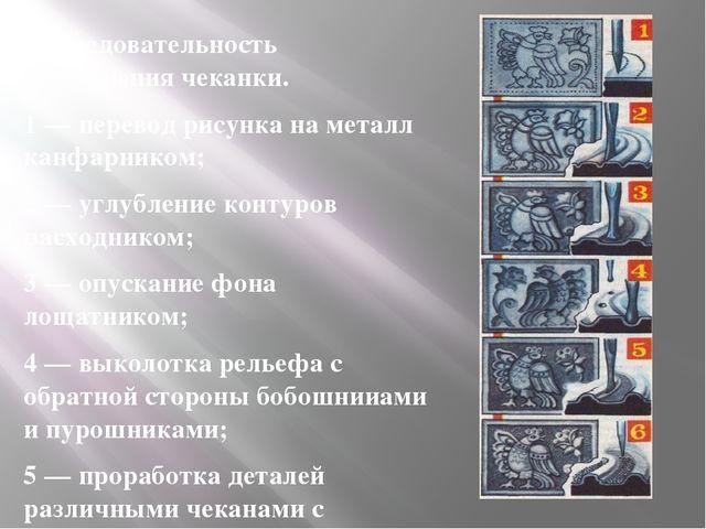 Последовательность выполнения чеканки. 1 — перевод рисунка на металл канфарни...