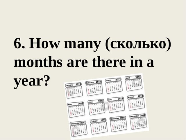 6. How many (сколько) months are there in a year?