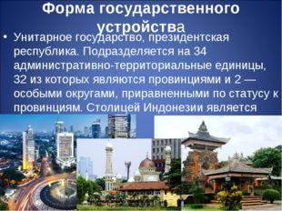 Форма государственного устройства Унитарное государство, президентская респуб