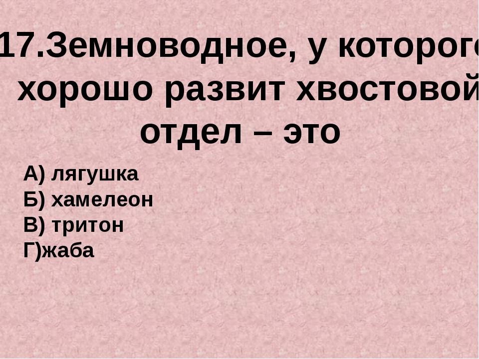 17.Земноводное, у которого хорошо развит хвостовой отдел – это А) лягушка Б)...