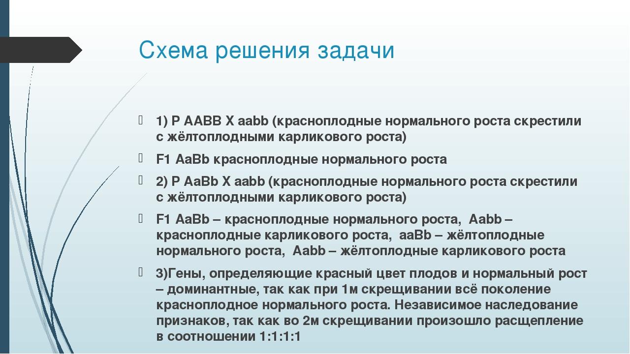 Схема решения задачи 1) P AABB X aabb (красноплодные нормального роста скрест...