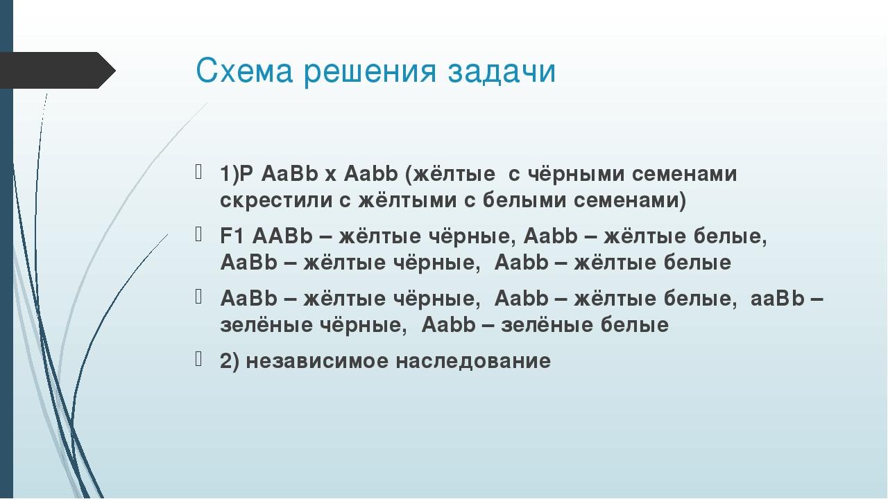 Схема решения задачи 1)P AaBb x Aabb (жёлтые с чёрными семенами скрестили с ж...