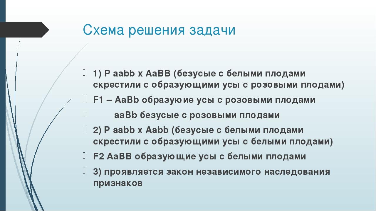 Схема решения задачи 1) P aabb x AaBB (безусые с белыми плодами скрестили с о...