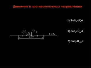 3) d=d0-Uсбл•t 1) S=(U1-U2)•t 2) d=d0+Uуд•t Движение в противоположных направ