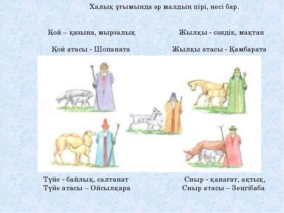 Халық ұғымында әр малдың пірі, иесі бар. , Қой – қазына, мырзалық Жылқы - сә...