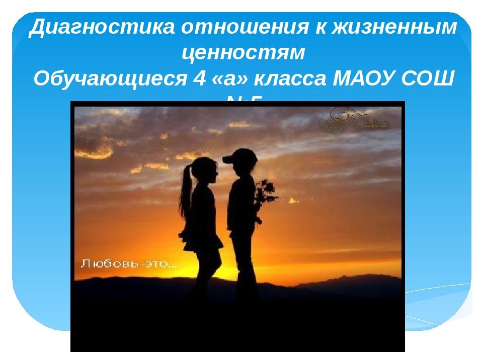 Диагностика отношения к жизненным ценностям Обучающиеся 4 «а» класса МАОУ СОШ...