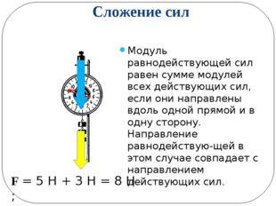 Сложение сил Модуль равнодействующей сил равен сумме модулей всех действующих