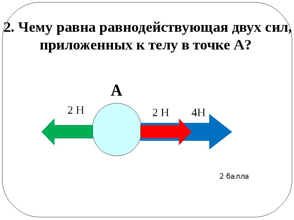 2. Чему равна равнодействующая двух сил, приложенных к телу в точке А? А 2...