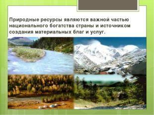 Природные ресурсы являются важной частью национального богатства страны и ист