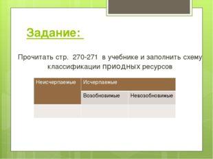 Задание: Прочитать стр. 270-271 в учебнике и заполнить схему классификации пр