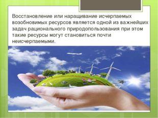 Восстановление или наращивание исчерпаемых возобновимых ресурсов является одн