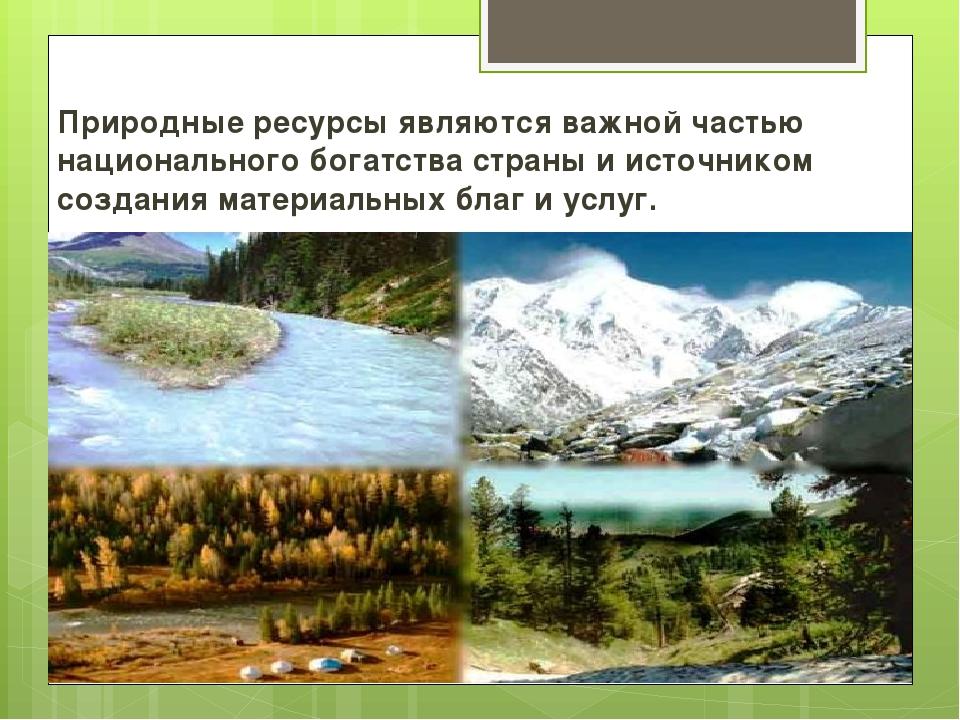 Природные ресурсы являются важной частью национального богатства страны и ист...