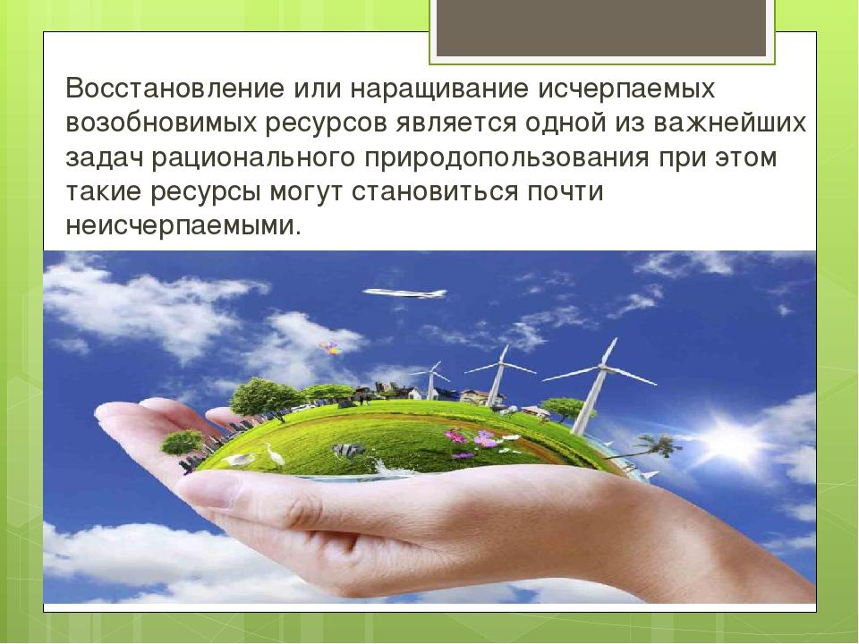Восстановление или наращивание исчерпаемых возобновимых ресурсов является одн...