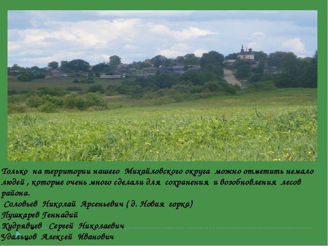 Только на территории нашего Михайловского округа можно отметить немало людей...