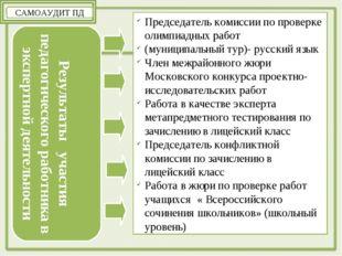 САМОАУДИТ ПД Результаты участия педагогического работника в экспертной деятел