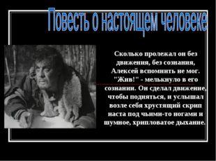 """Сколько пролежал он без движения, без сознания, Алексей вспомнить не мог. """"Жи"""