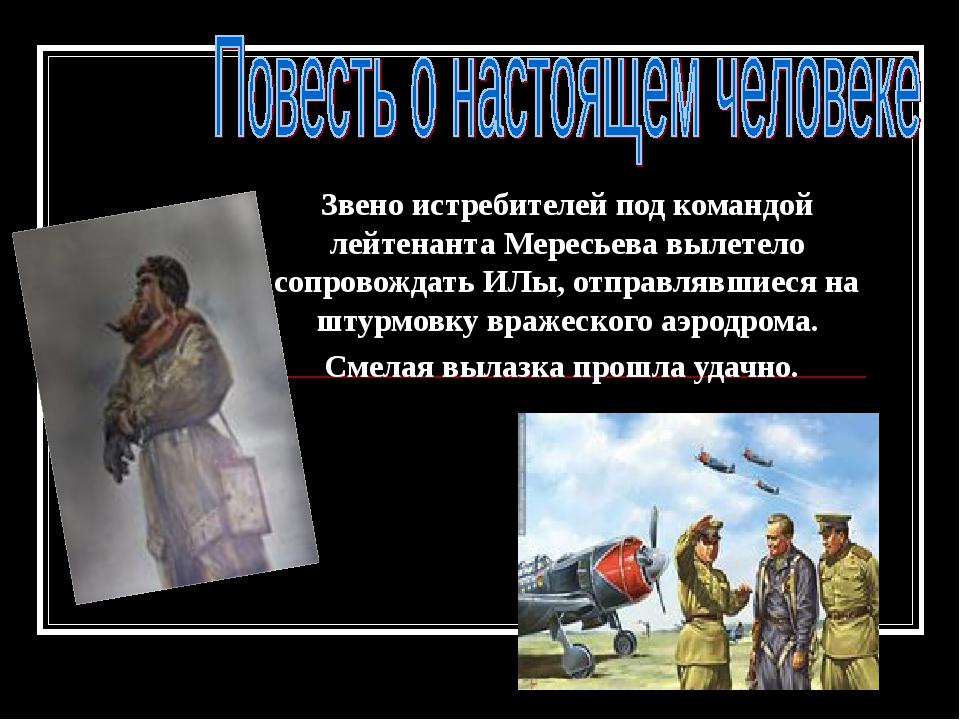 Звено истребителей под командой лейтенанта Мересьева вылетело сопровождать ИЛ...