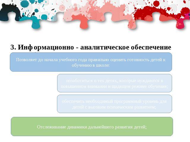 3. Информационно - аналитическое обеспечение учебного процесса и управление к...