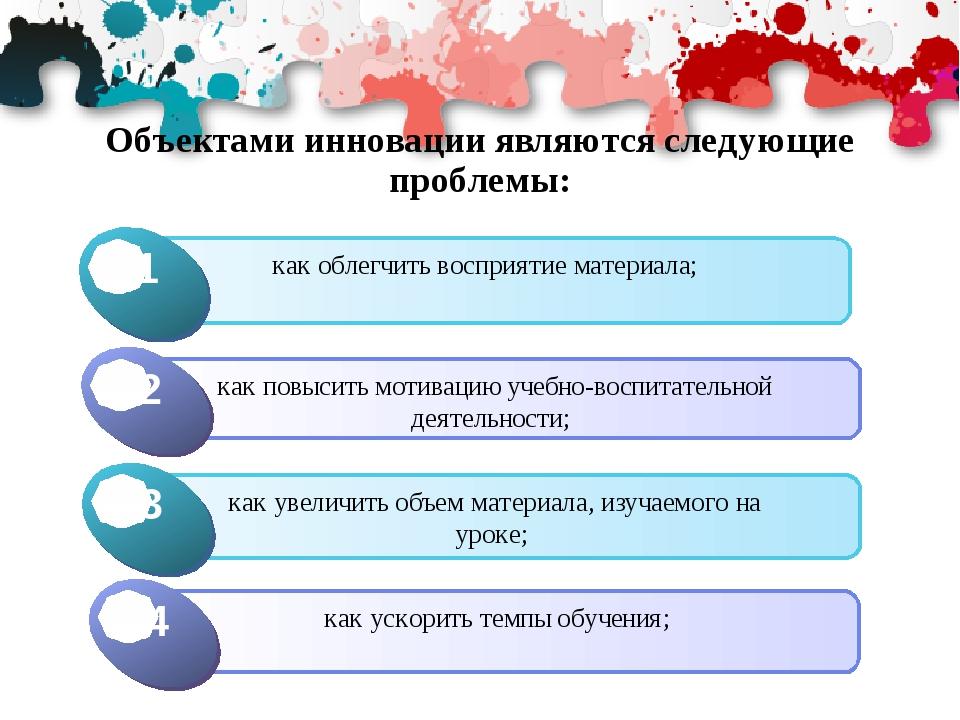 Объектами инновации являются следующие проблемы: Click to add Title 1 как обл...