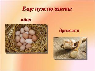 Еще нужно взять: яйцо дрожжи Фролова Ольга Ивановна д/с № 1687