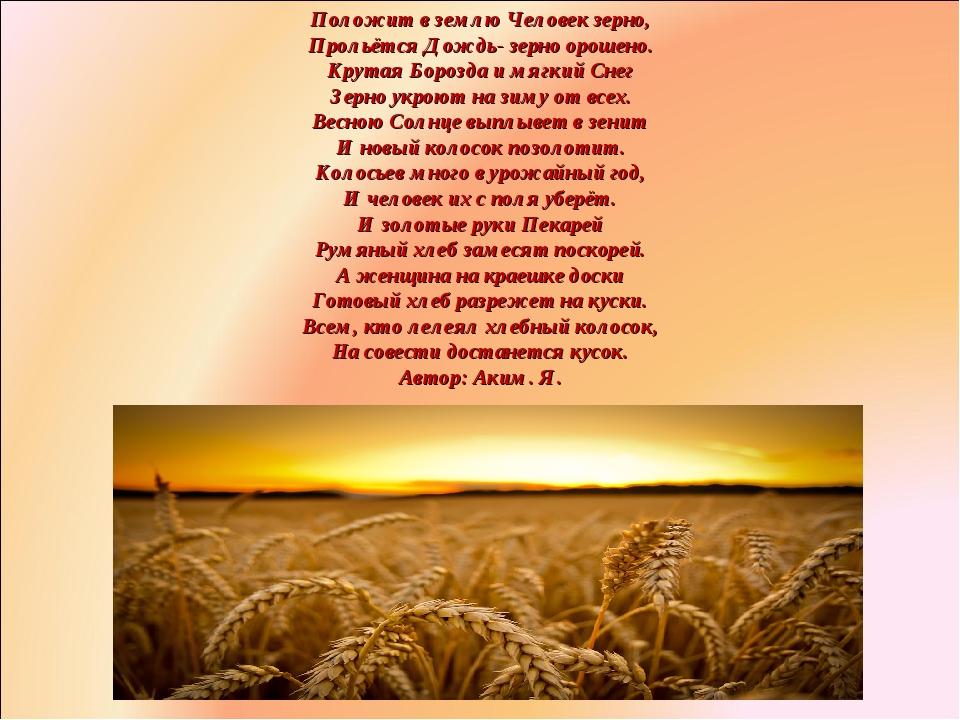 Положит в землю Человек зерно, Прольётся Дождь- зерно орошено. Крутая Борозда...