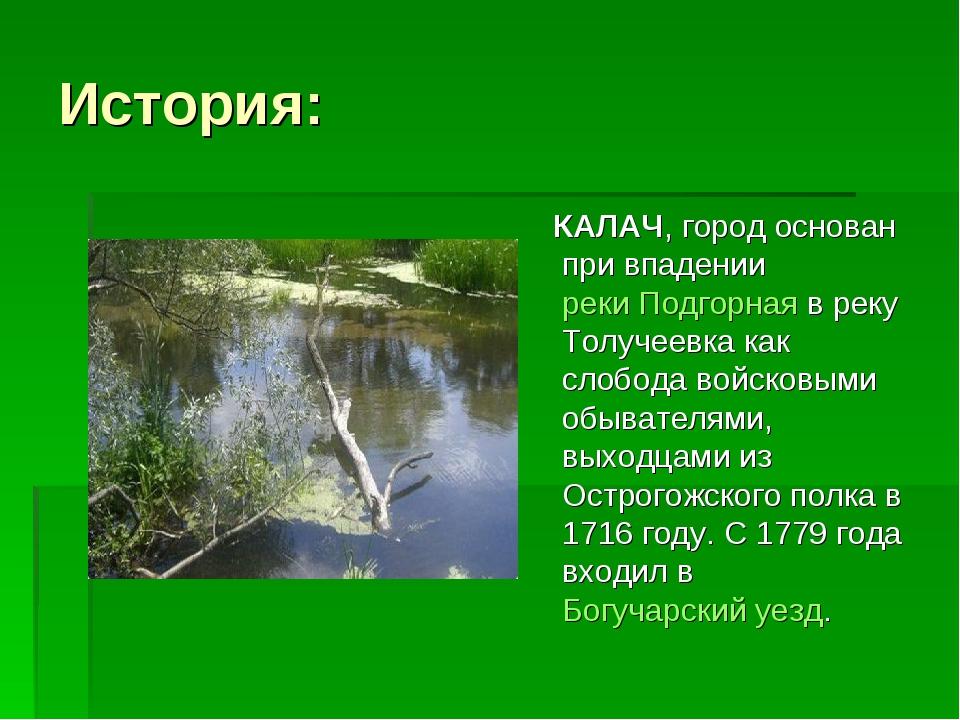 История: КАЛАЧ, город основан при впаденииреки Подгорнаяв реку Толучеевка к...