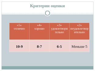 Критерии оценки   «5» отлично «4» хорошо «3» удовлетворительно «2» неудовле