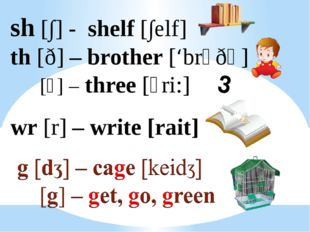 sh [∫] - shelf [∫elf] th [ð] – brother ['brᴧðә] [⍬] – three [⍬ri:] wr [r] – w