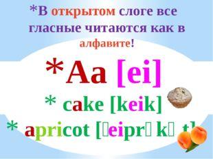 В открытом слоге все гласные читаются как в алфавите! Aa [ei] cake [keik] apr
