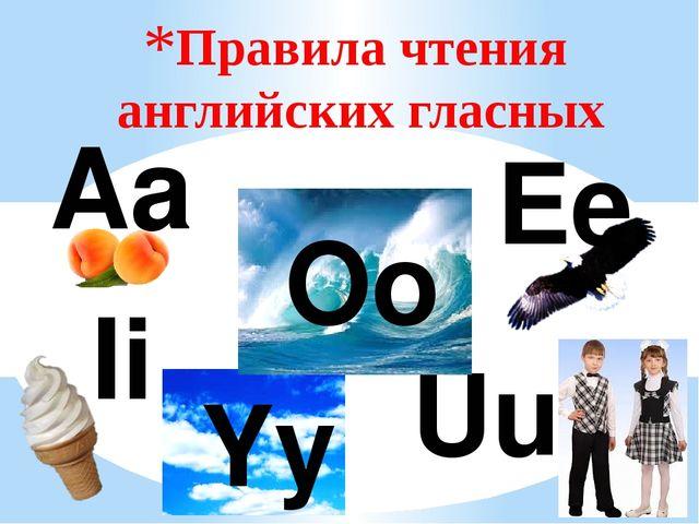 Правила чтения английских гласных Aa Ii Ee Uu Yy Oo