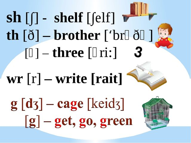 sh [∫] - shelf [∫elf] th [ð] – brother ['brᴧðә] [⍬] – three [⍬ri:] wr [r] – w...