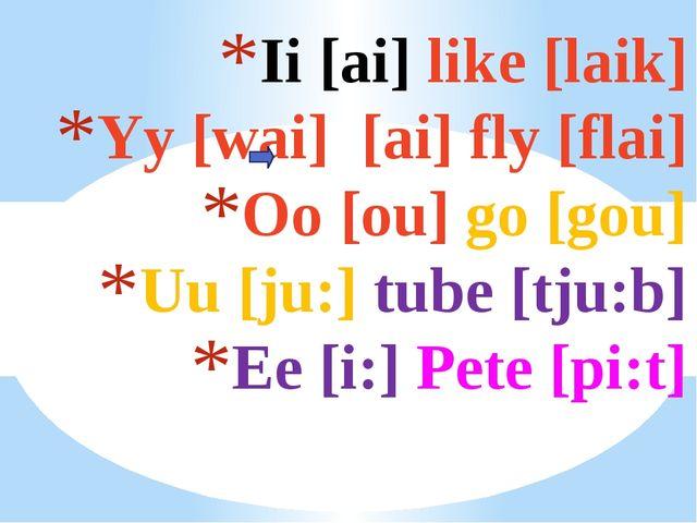 Ii [ai] like [laik] Yy [wai] [ai] fly [flai] Oo [ou] go [gou] Uu [ju:] tube [...
