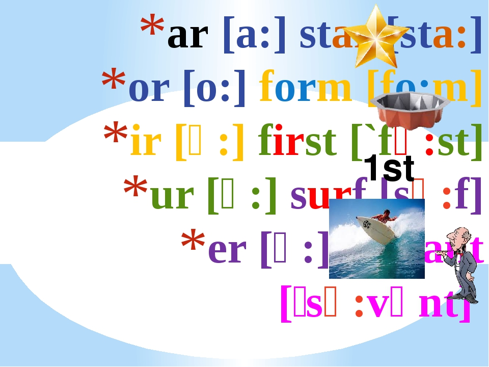 ar [a:] star [sta:] or [o:] form [fo:m] ir [ә:] first [`fә:st] ur [ә:] surf [...