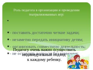 Роль педагога в организации и проведении театрализованных игр: - поставить до