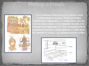 Мебель и утварь Стол ставили в Красном углу, вдоль стола стояли лавки и скамь