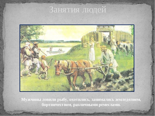 Занятия людей Мужчины ловили рыбу, охотились, занимались земледелием, бортнич...