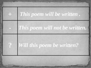 + - ? This poem will be written . This poem will not be written. Will this po