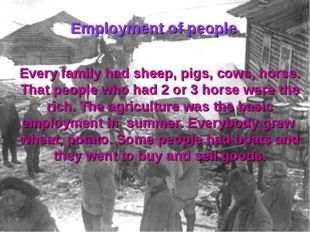 Every family had sheep, pigs, cows, horse. That people who had 2 or 3 horse w