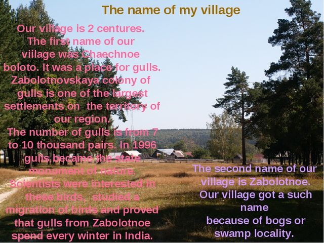 The name of my village Our village is 2 centures. The first name of our viila...