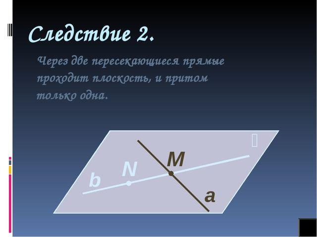 Следствие 2. Через две пересекающиеся прямые проходит плоскость, и притом тол...
