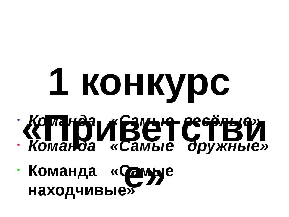 1 конкурс «Приветствие» Команда «Самые весёлые» Команда «Самые дружные» Кома...