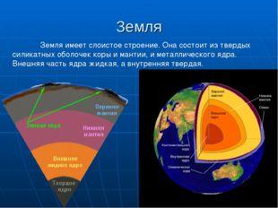 Земля Земля имеет слоистое строение. Она состоит из твердых силикатных оболо