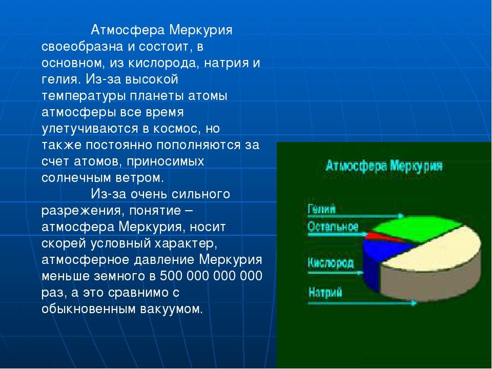Атмосфера Меркурия своеобразна и состоит, в основном, из кислорода, натрия и...