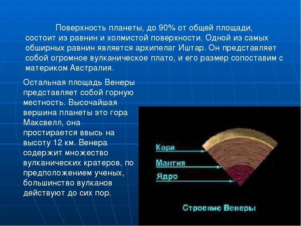 Поверхность планеты, до 90% от общей площади, состоит из равнин и холмистой...
