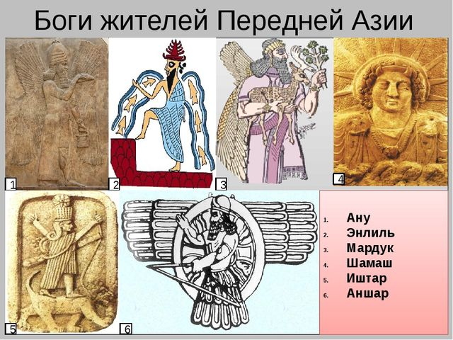 Боги жителей Передней Азии 1 2 3 4 5 6 Ану Энлиль Мардук Шамаш Иштар Аншар