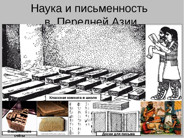 Наука и письменность в Передней Азии Вавилонские счёты Классная комната в шко...